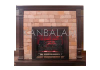 chimenea con piedra volcnica lisa desvanecida acabado de madera tipo rectangular con tallado especial