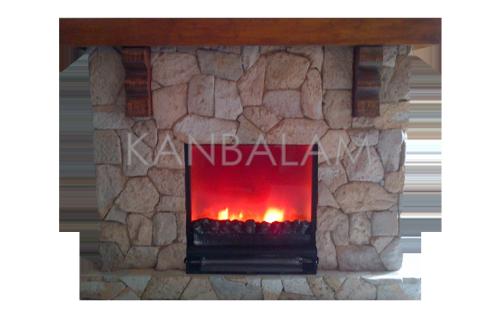 Chimenea con piedra  volcánica rústica, con vidrio templado y acabado de madera tipo paloma.